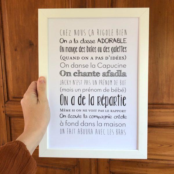 affiche personnalisée fond blanc L'Atelier Typodeco