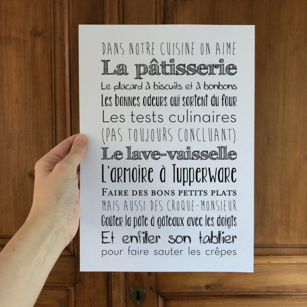 affiche cuisine L'Atelier Typodeco personnalisable