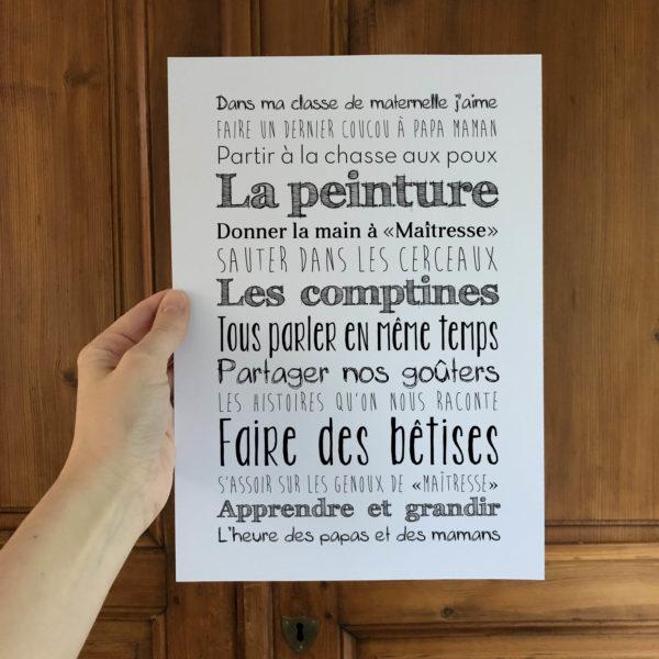 Affiche école maternelle cadeau maitresse L'Atelier Typodeco