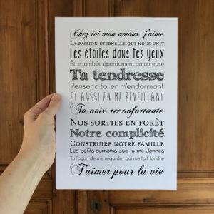 affiche saint valentin cadeau personnalisable L'Atelier Typodeco