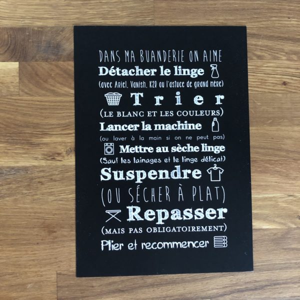 affiche buanderie noir style blackboard