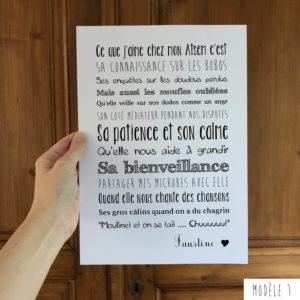 Affiche école maternelle cadeau Atsem L'Atelier Typodeco modèle 1