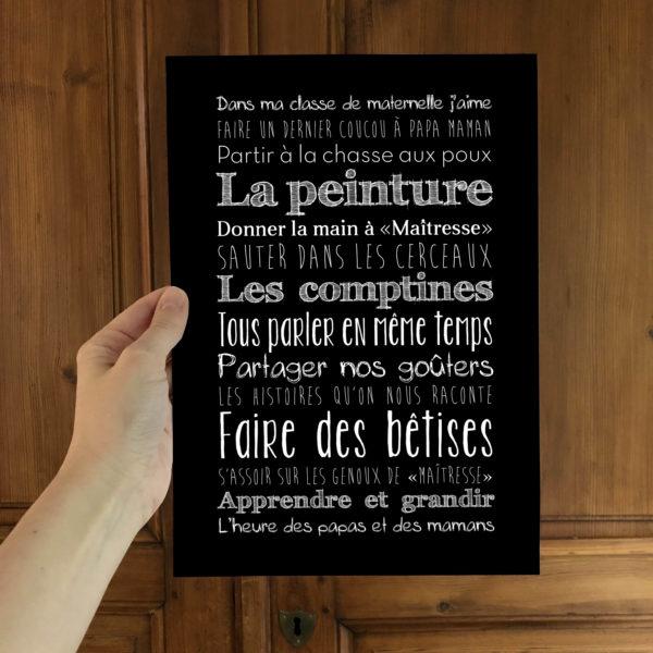 Affiche blackboard école maternelle cadeau maitresse L'Atelier Typodeco