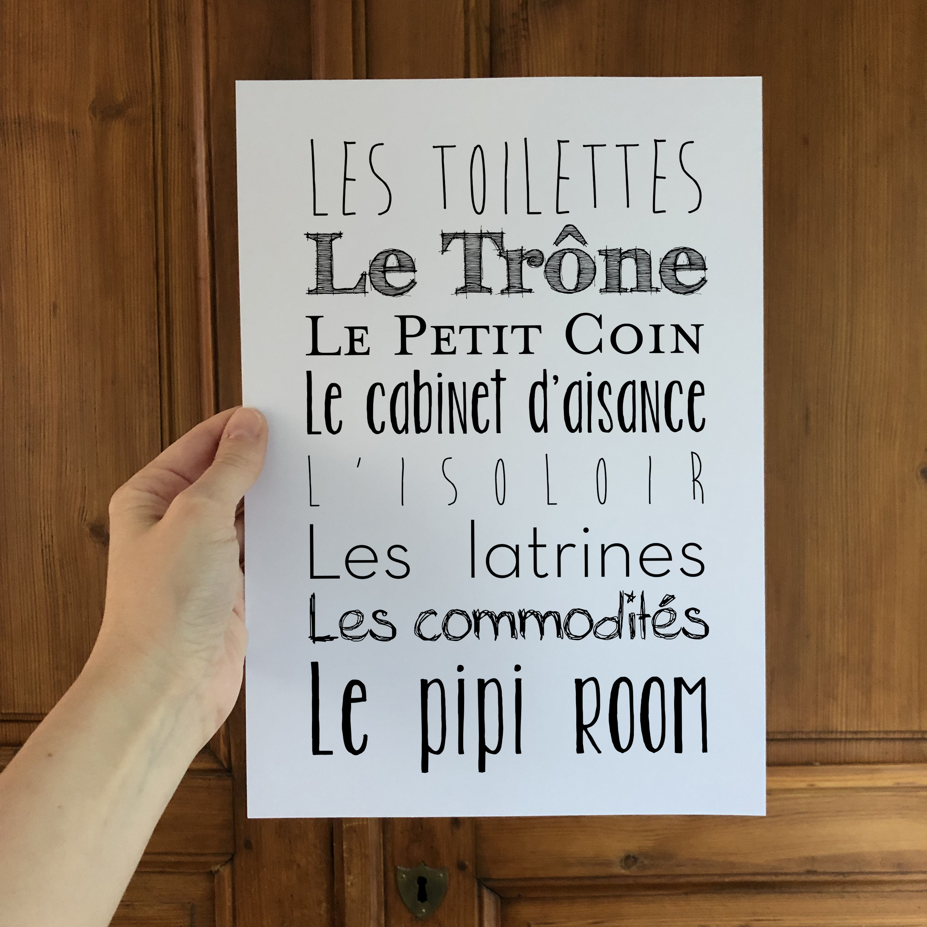 Affiche Toilettes Synonymes