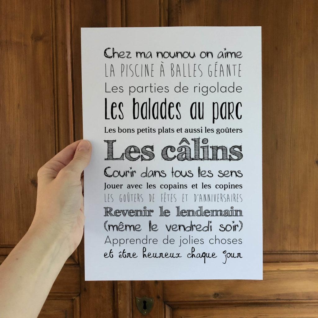 nounou affiche personnalisable L'Atelier Typodeco