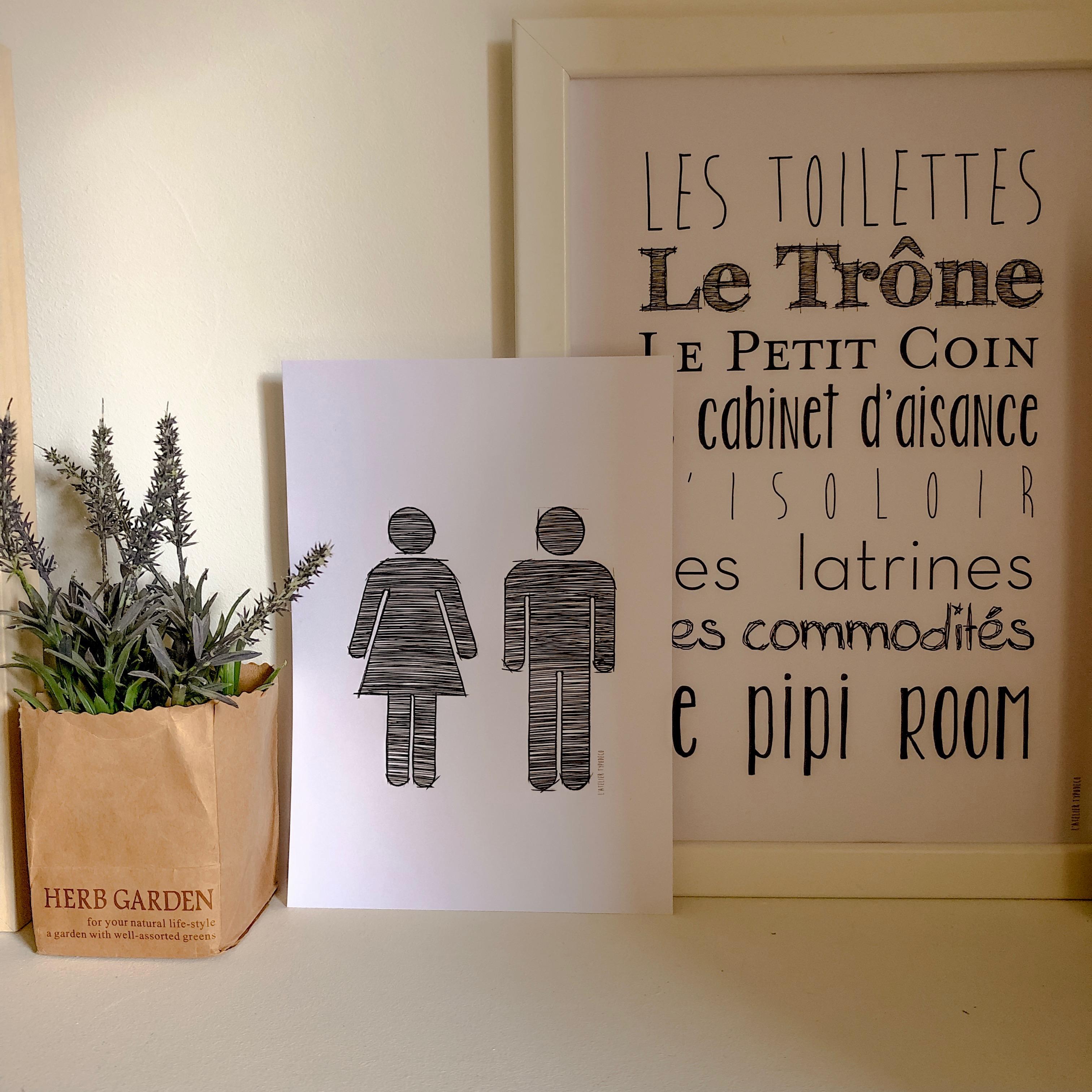 Kit 3 Affiches Toilettes
